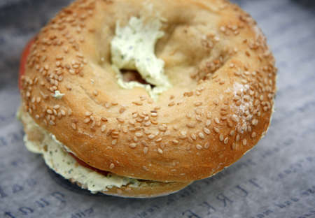 cream cheese: Bagel with cream cheese for breakfast. Stock Photo
