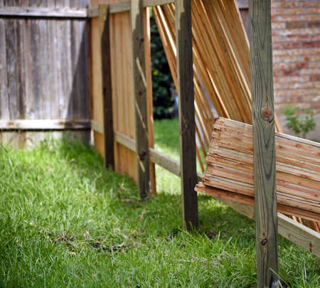 wooden fence: Backyard with lumber for new privacy fence, old fence and partially built new fence