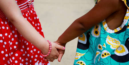 foster: Diversity:  Caucasian and African - American little girls holding hands