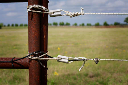 Farming: fragment of professionally installed electric fence, close up Stock Photo