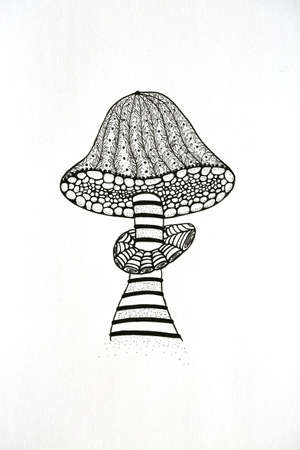 illustration technique: Vector illustration of stylized mushroom, zen technique. Illustration