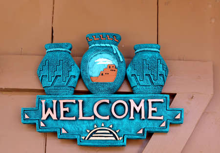 WELCOME sign, New Mexico, traditional Native American design Banco de Imagens - 82813822
