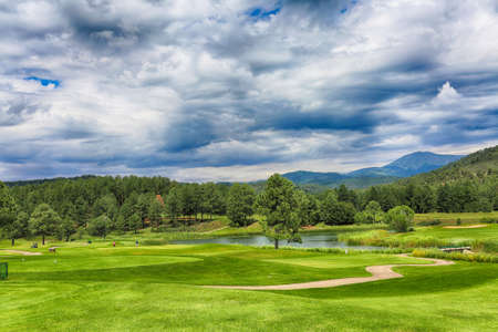 July 27, 2017. New Mexicos Inn of the Mountain Gods mountain resort, golf courses- one of the most spectacular golf courses in the country. HDR image.