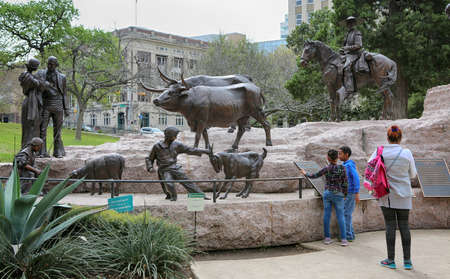March, 2017. Historical monument at the Capitol Building square in downtown Austin, Texas. Landmark.