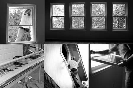 Black and white construction collage of installing new windows in old house, renovation contest. Standard-Bild - 106697228