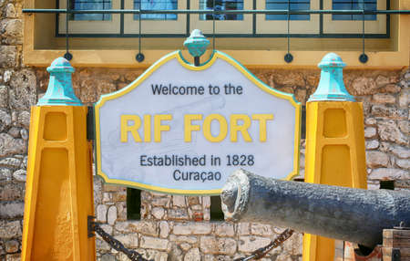Willemstad, Curacao, January 25, 2019. Rif Fort sign, historic landmark.