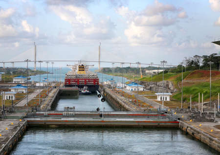 Panama Canal, Panama, January 28, 2019. The gate is locking after large ship went though