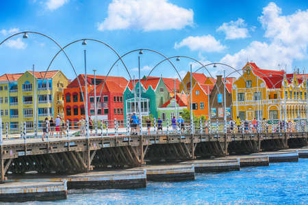 January 25, 2019, Willemstad, Curacao Tourist walking on Floating pontoon bridge in downtown