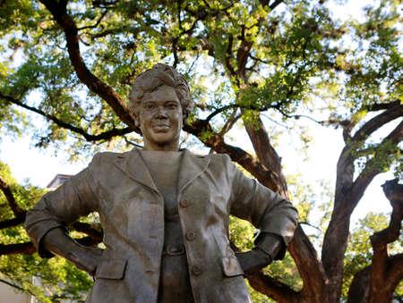 Austin, Texas, April 26, 2019.  Bronze statue of Barbara Jordan, American lawyer, educator and politician, at University of Texas, Austin campus.