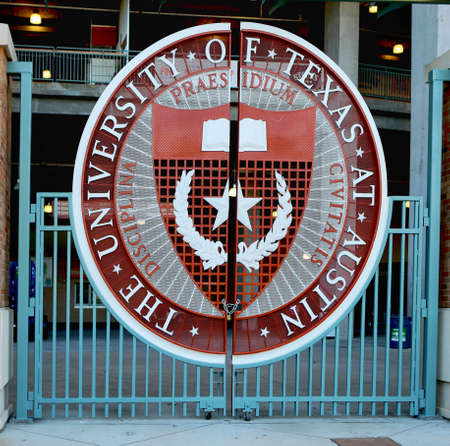 April 26, 2019, Austin, Texas. The University of Texas symbol on Longhorns football stadium gate. The Darrell K. Royal Texas Memorial Stadium has been home to the University of Texas at Austin Longhorns football team since 1924.