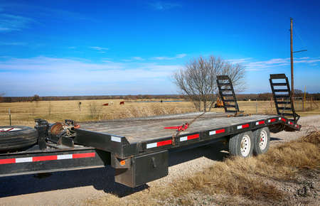 Close up of heavy duty towing track at Texas farm.