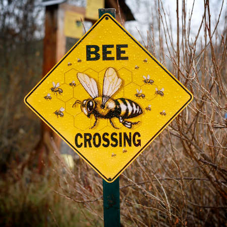 Bee crossing sign,  Wye Marsh Wildlife Centre,  Ontario, Canada Standard-Bild