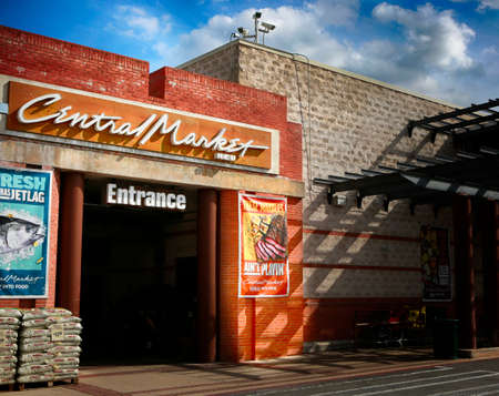 March 10, 2021, Austin, Texas. Central Market, ENTRANCE.  Central Market is an American gourmet grocery store chain owned by H-E-B Grocery Company.