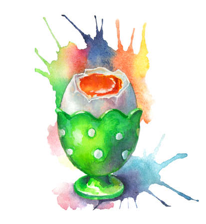 Poached egg white drawing watercolor splashes
