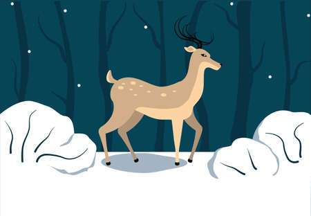 brown deer on dark background with snow flakes. Blue forest, dark blue trees and white bushes. Christmas vector drawing