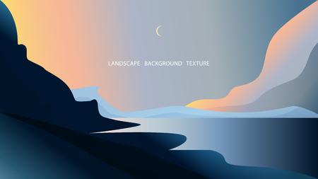 Landscape with hills, sea and crescent. Vector illustration. Blue, pink, golden colors. EPS10