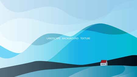 Minimalistic landscape in gray-blue colors with high hills and a house. Vector illustration. EPS10