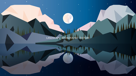 Minimalist landscape in cold colors with high mountains covered with forest, moon, stars and mirror surface of the reservoir in which the whole scene is abandoned. Vector illustration. EPS10