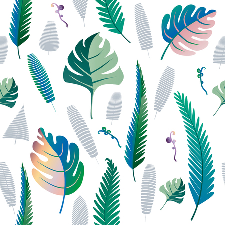 Fern and palm leaves pattern. Seamless background. Vector illustration. EPS10