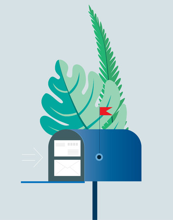 Email concept. Mailbox with envelopes surrounded by green palm leaves. Vector illustration. Objects on a transparent background. EPS10.