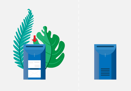 Email concept. Two mailboxes, empty and with envelopes surrounded by green palm leaves. Vector illustration. Objects on a transparent background. EPS10.