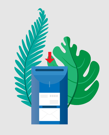 Email concept. Mailbox with envelopes surrounded by green palm leaves. Vector illustration. Objects on a transparent background. EPS10. Vektorové ilustrace