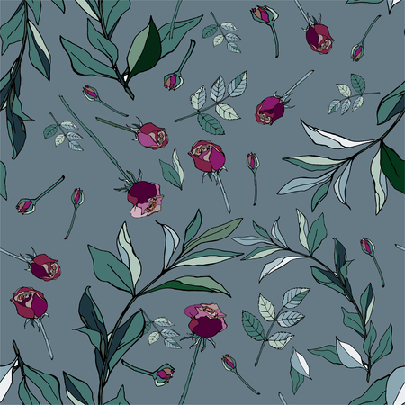 Violet roses with green leaves on a blue background. Seamless vector pattern. Garden flowers illustration. Gentle pastel colors. EPS10 Illustration