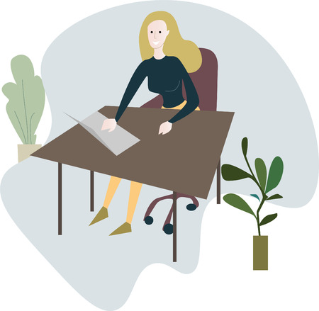A woman sits at a desk with laptops, office furniture, office plants. Vector illustration. EPS10
