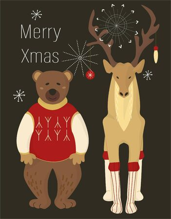 A pair of Christmas animals in costumes on black background with text. Deer in socks and with decoration on the horns and bear in a red sweater. Vector illustration. EPS10 Çizim