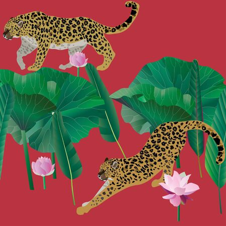 Two leopards on a red background seamless vector illustration. Picture with exotic african animals.Flowers and leaves palm trees. Endless pattern. EPS 10 Illustration