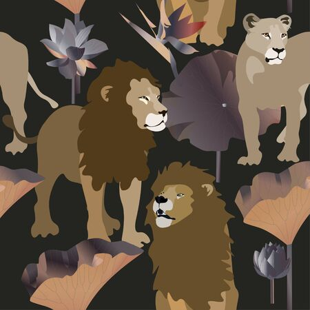 Lions and lioness on black background seamless vector illustration. Picture with exotic african animals, flowers and leaves palm tree. Warm earthy calm colors. EPS 10