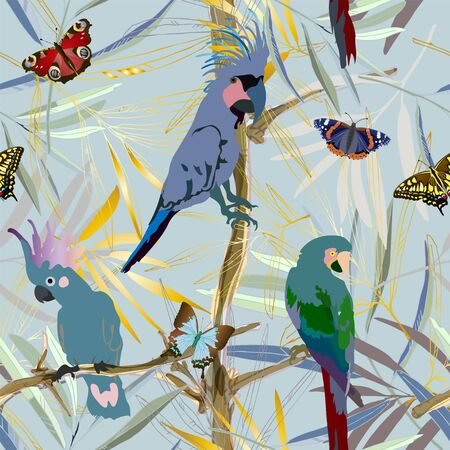 Cockatoo parrots , butterflies and exotic tropical palm leaves vector illustration. Picture with gold, blue and green colors and light aquamarine background. Endless pattern. EPS 10