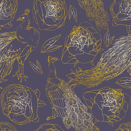 Seamless pattern with golden peacock and roses, peonies, leaves on dusty violet background. Tropical berds, flowers. Vector illustration with plants. Gentle pastel colors. EPS 10 Ilustrace