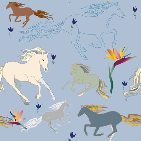 seamless vector illustration, pattern with the image of horses and flowers, in blue and pastel colors, watercolor painting Illustration