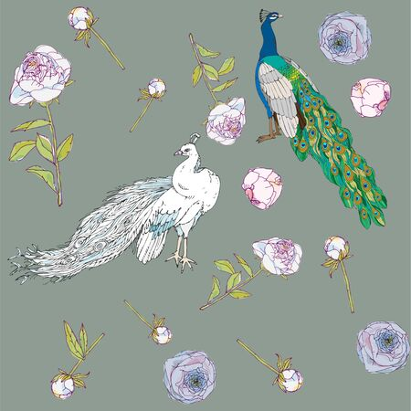 White and colorful peacocks. Leaves, stems and inflorescences of peonies vector illustration. Picture with pink, blue and white flowers and birds on army green, grey colors. Endless pattern. EPS10 矢量图像
