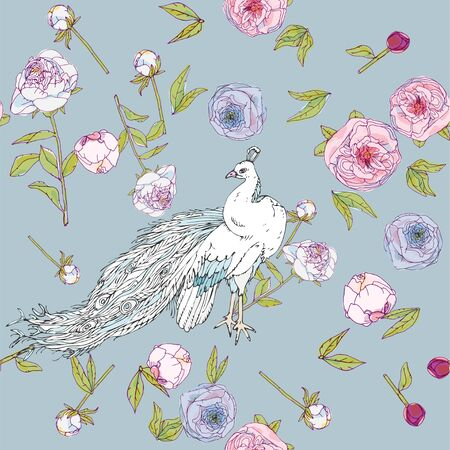 White peacock and leaves, stems and inflorescences of peonies vector illustration. Picture with pink, blue and white flowers. Endless pattern. EPS10