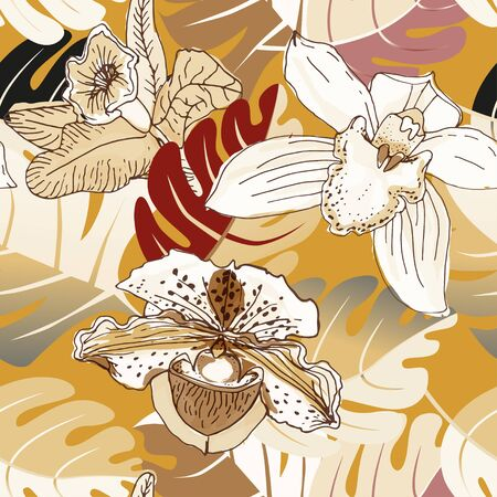 Seamless pattern with orchids and leaves palm. Painting with muted flowers on a mustard background. Exotic tropic vector illustration with plants. Ilustracja