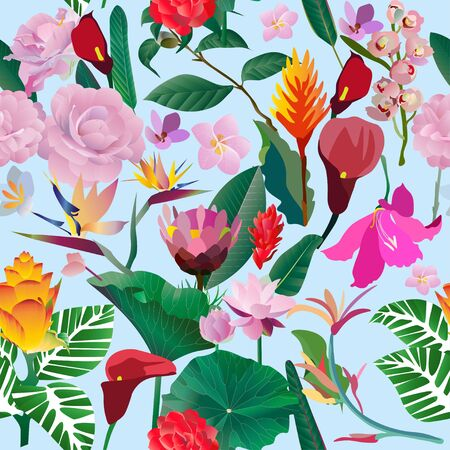 Seamless pattern. Pink, red, yellow, blue exotic aquatic and tropical flowers with large green leaves on a blue background. Vector illustration. Picture saturation color with lily and calla