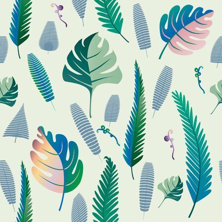Fern and palm leaves pattern. Seamless background. Vector illustration.