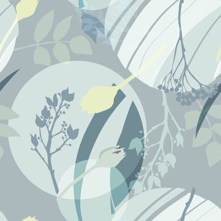 Silvery circles, green, golden, gray flowers and leaves. Abstract floral pattern in gray-green colors. Seamless vector pattern.