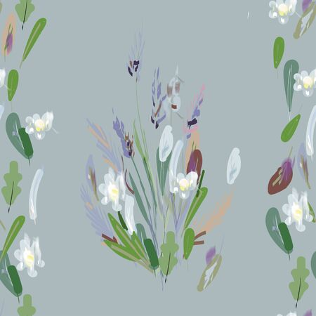 Diffrent leaves, stems and inflorescences of lavender vector illustration. Picture with green, pink, purple and white flowers. Endless pattern.