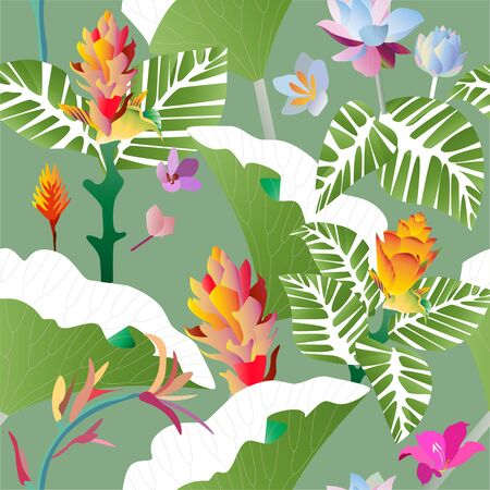 Seamless pattern. Pink, red, yellow, blue exotic aquatic and tropical flowers with large green leaves on a green background. Vector illustration. Picture saturation color.