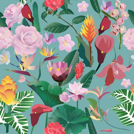 Seamless pattern. Pink, red, yellow, blue exotic aquatic and tropical flowers with large green leaves on a blue background. Vector illustration. Picture saturation color with lily and calla Vectores