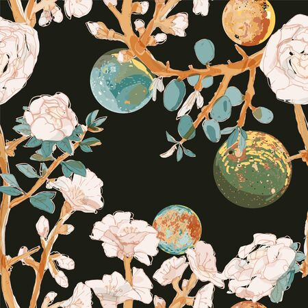 Four space planets, branches pink flowers and fruits on a endless black background. Night moons and roses seamless vector illustration.