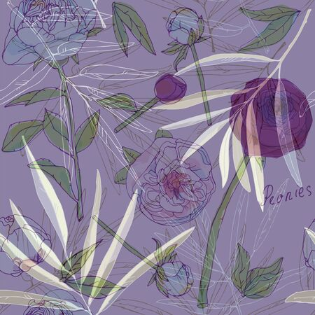 Leaves, stems and inflorescences of peonies vector illustration. Picture with pink, purple and white flowers. Endless pattern. EPS10 Ilustracja