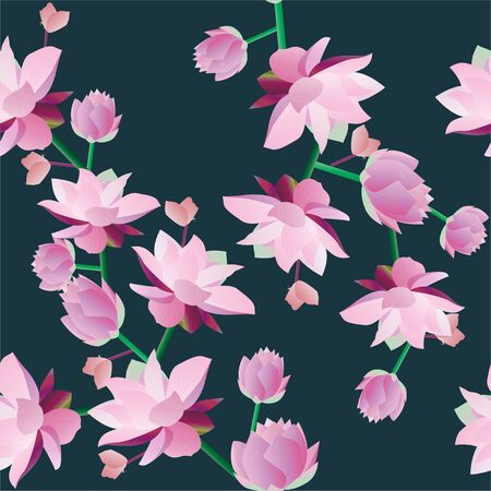 Pink, raspberry, burgundy aquatic and tropical flowers on a dark blue background. Vector illustration. Seamless pattern. Picture with lilies. Ilustracja