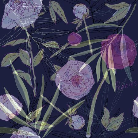 Leaves, stems and inflorescences of peonies vector illustration. Picture with pink, purple and white flowers. Blue endless pattern. EPS10