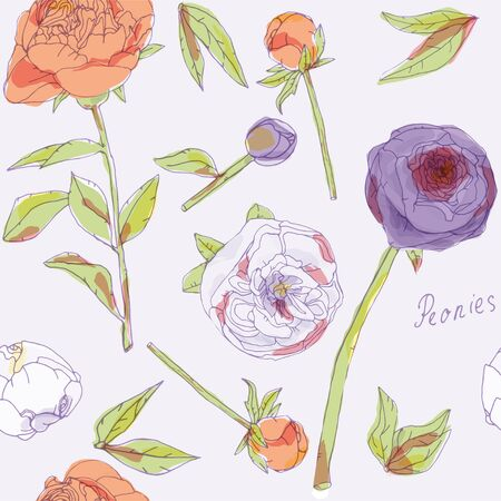 Leaves, stems and inflorescences of peonies vector illustration. Picture with orange, violet and white flowers. Endless pattern. Ilustracja