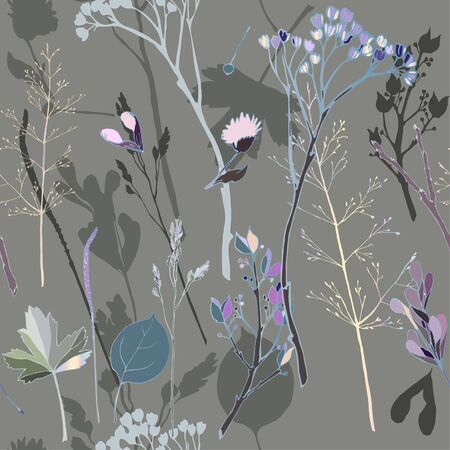 Vector illustration with sprigs, leaves, blades of grass, inflorescences and seeds on a dusty gray background. Seamless pattern with herb. Delicate pastel colors.
