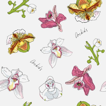 Flowers and branch of orchid vector illustration. Pink, green, yellow color. Seamless pattern. Ilustracja